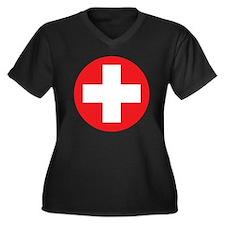 red cross Women's Plus Size Dark V-Neck T-Shirt