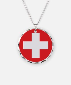 red cross Necklace Circle Charm