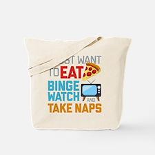 Pizza Binge Naps Emoji Tote Bag