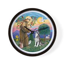 St Francis (R) - Alaskan Malamute Wall Clock