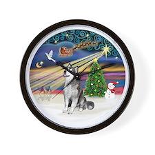 Xmas Magic (R) - Alaskan Malamute Wall Clock