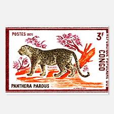 Vintage 1972 Congo Leopard Postage Stamp Postcards