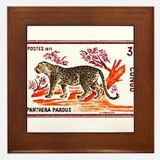 Vintage 1972 Congo Leopard Postage Stamp Framed Ti