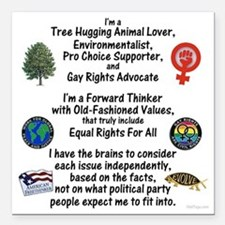 "independent_thinker_2d_t Square Car Magnet 3"" x 3"""