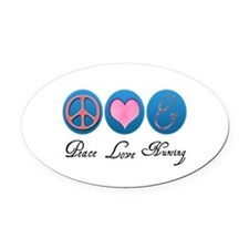 3-peace love nursing copy Oval Car Magnet