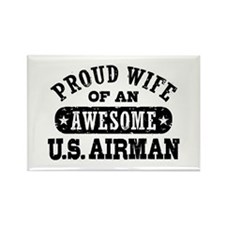 Proud Wife of an Awesome US Airman Rectangle Magne