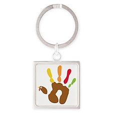 turkeyhand_dark Square Keychain