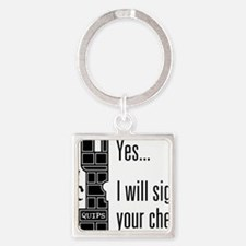 Quips_SignChest_light-crop Square Keychain