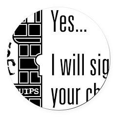 Quips_SignChest_light-crop Round Car Magnet