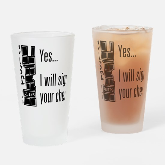 Quips_SignChest_light-crop Drinking Glass