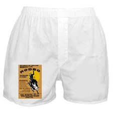 rodeo cowboy riding bucking bronco po Boxer Shorts