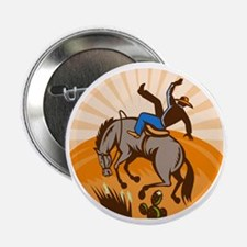 "rodeo cowboy riding bucking bronco 2.25"" Button"