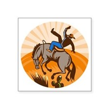 "rodeo cowboy riding bucking Square Sticker 3"" x 3"""