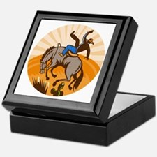 rodeo cowboy riding bucking bronco Keepsake Box