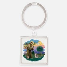 St Francis (ff) - Blue Abyssinian  Square Keychain