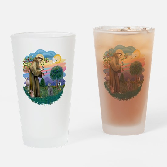 St Francis (ff) - Russian Blue cat Drinking Glass