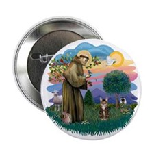 """St francis (ff) - Tabby Tiger cat 2.25"""" Button"""