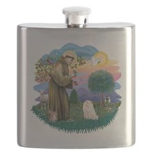 St Francis (ff) - White Persian cat Flask
