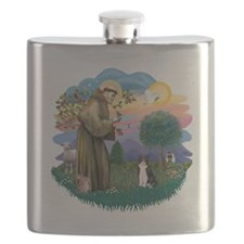 St Francis (ff) - Black and white cat Flask