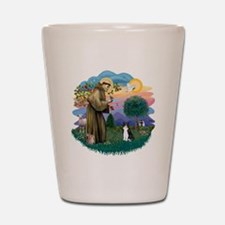 St Francis (ff) - Black and white cat Shot Glass