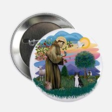 "St Francis (ff) - Black and white cat 2.25"" Button"