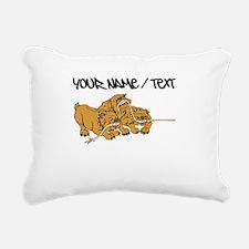 Bulldog Tug Of War Rectangular Canvas Pillow
