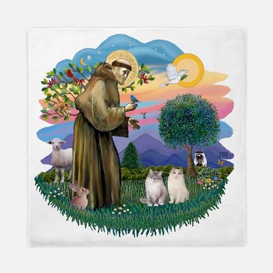 St Francis (ff) - Ragdoll Cats (TWO) Queen Duvet