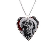 Dalmatian with snow Necklace Heart Charm