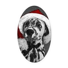 Dalmatian with snow Oval Car Magnet