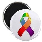 "Rainbow Pride II Ribbon 2.25"" Magnet (100 pack)"