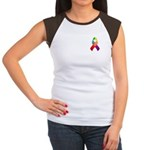 Rainbow Pride II Ribbon Women's Cap Sleeve T-Shirt