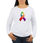 Rainbow Pride II Ribbon Women's Long Sleeve T-Shir