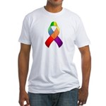 Rainbow Pride II Ribbon Fitted T-Shirt