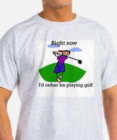 Right now i'd rather be playi Ash Grey T-Shirt