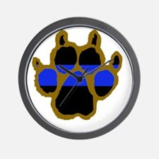 Brown Thin Blue Line Paw Enforcement Wall Clock