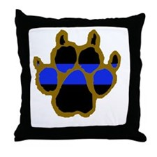 Brown Thin Blue Line Paw Enforcement Throw Pillow