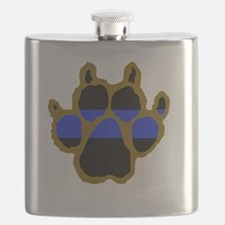 Brown Thin Blue Line Paw Enforcement Flask