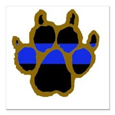 "Brown Thin Blue Line Paw Square Car Magnet 3"" x 3"""