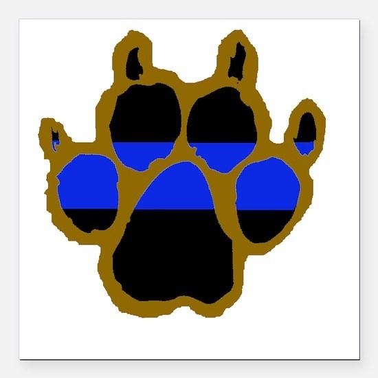 "Brown Thin Blue Line Paw Square Car Magnet 3"" x 3"""