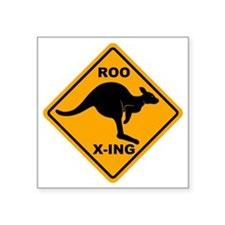 "Kangaroo Sign Roo Xing A3 c Square Sticker 3"" x 3"""