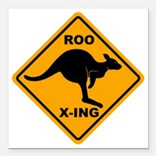 "Kangaroo Sign Roo Xing A Square Car Magnet 3"" x 3"""