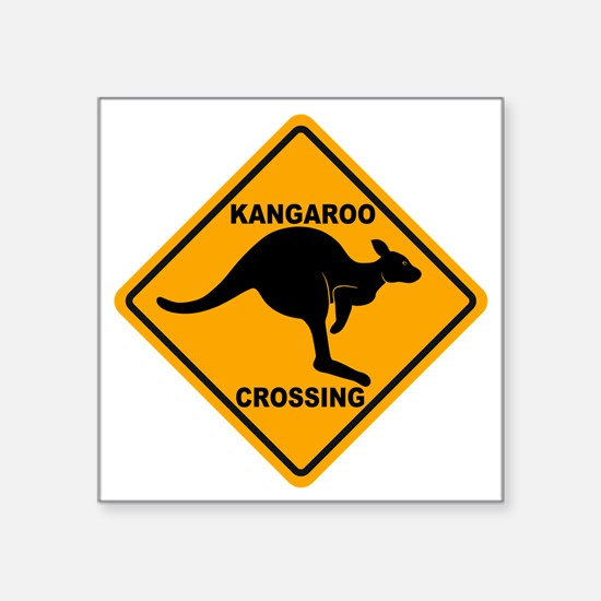 "Kangaroo Sign Crossing A3 c Square Sticker 3"" x 3"""