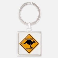 Kangaroo Sign Crossing A3 copy Square Keychain