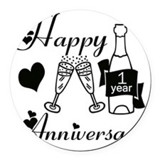 Anniversary black and white 1 cop Round Car Magnet
