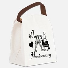 Anniversary black and white 55 Canvas Lunch Bag