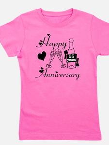 Anniversary black and white 55 Girl's Tee