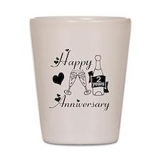 Anniversary black and white 2 Shot Glass