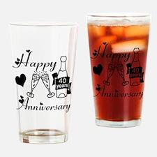 Anniversary black and white 40 Drinking Glass
