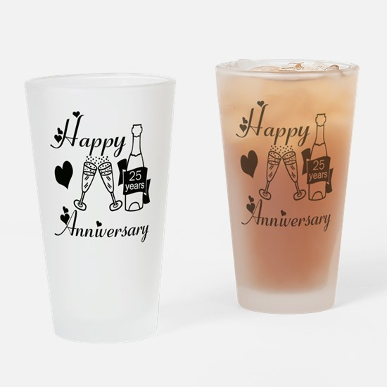 Anniversary black and white 25 Drinking Glass