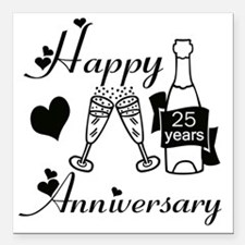 "Anniversary black and wh Square Car Magnet 3"" x 3"""